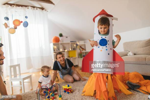 my big brother is a rocket! - halloween kids stock photos and pictures