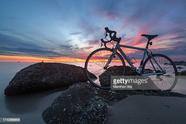 my bike on the beach - prachuap khiri khan province stock pictures, royalty-free photos & images