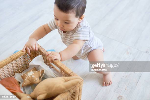 my box with toys - baby toys stock photos and pictures