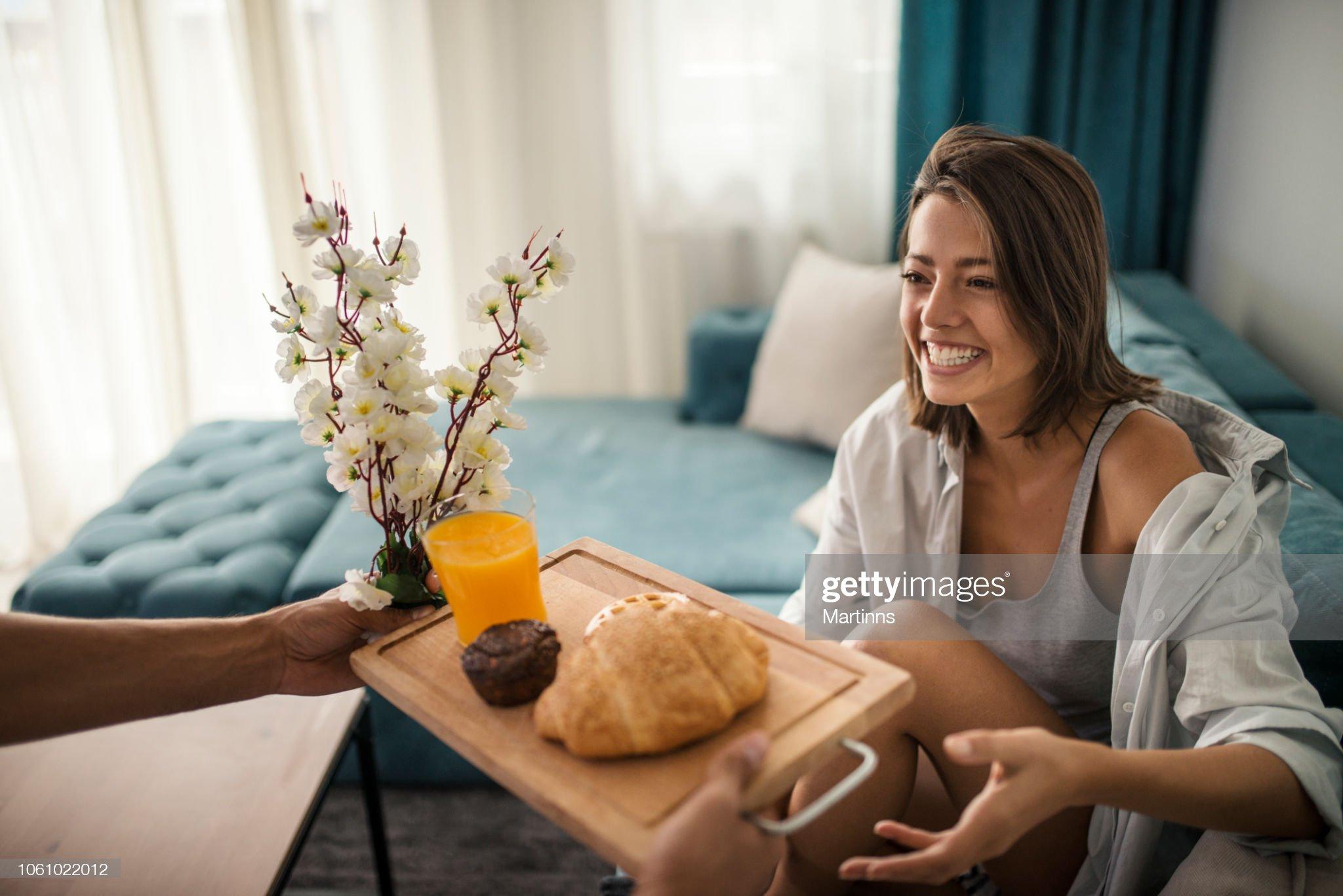 My carefull man make breakfast for me : Stock Photo