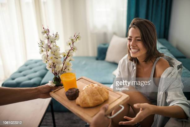 my carefull man make breakfast for me - breakfast in bed stock pictures, royalty-free photos & images