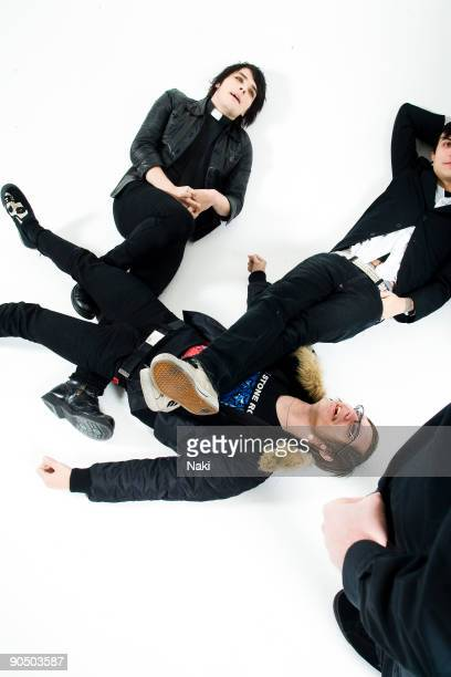 My Chemical Romance posed in London on November 05 2005 L R Gerard Way Mikey Way Frank Iero