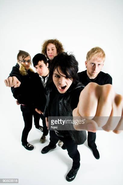 My Chemical Romance posed in London on November 05 2005 L R Mikey Way Frank Iero Ray Toro Gerard Way Bob Bryar