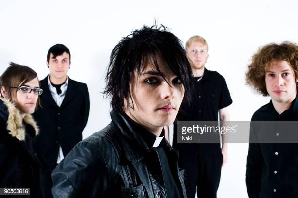 My Chemical Romance posed in London on November 05 2005 L R Mikey Way Frank Iero Gerard Way Bob Bryar Ray Toro