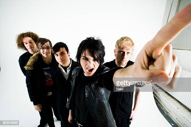 My Chemical Romance posed in London on November 05 2005 L R Ray Toro Mikey Way Frank Iero Gerard Way Bob Bryar