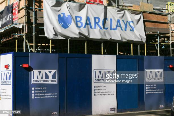 my construction on barclays bank, london - barclays brand name stock pictures, royalty-free photos & images
