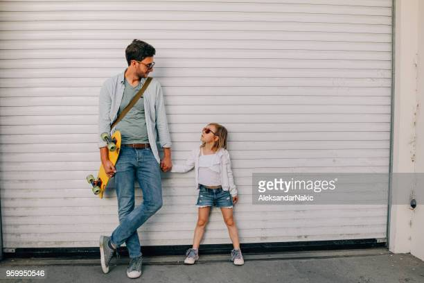 my dad is the coolest! - father daughter stock pictures, royalty-free photos & images