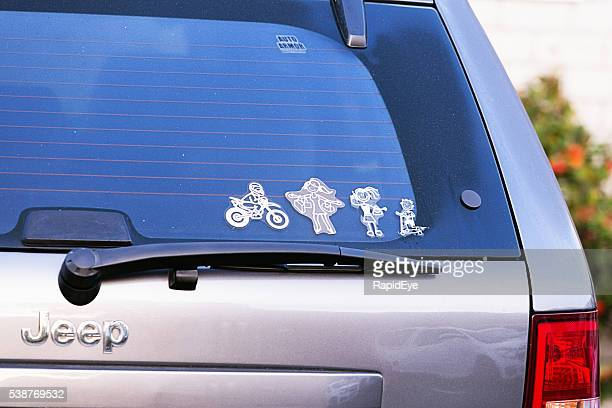 My Family decals on back window of Jeep SUV