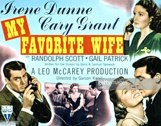 My Favorite Wife, lobbycard, Cary Grant, Randolph Scott, Irene Dunne, Gail Patrick, 1940.
