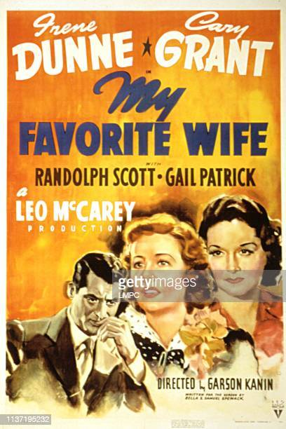 My Favorite Wife, poster, Cary Grant, Irene Dunne, Gail Patrick, 1940.