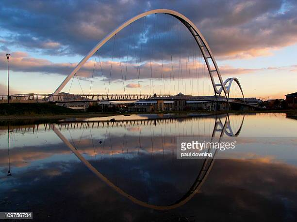 my favourite - the infinity bridge. - stockton on tees stock pictures, royalty-free photos & images