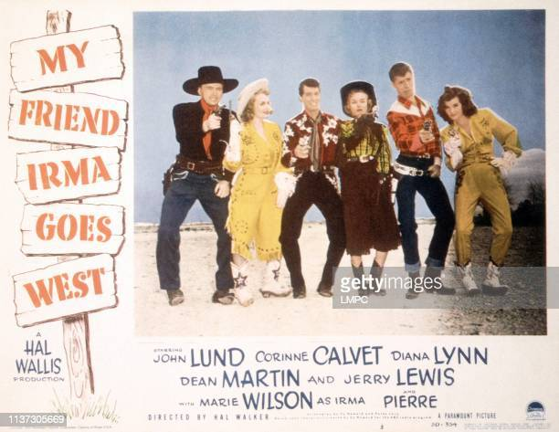 My Friend Irma Goes West US lobbycard from left John Lund Marie Wilson Dean Martin Diana Lynn Jerry Lewis Corinne Calvet 1950