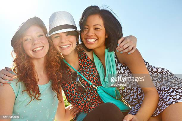 my friends are always there for me! - only teenage girls stock pictures, royalty-free photos & images