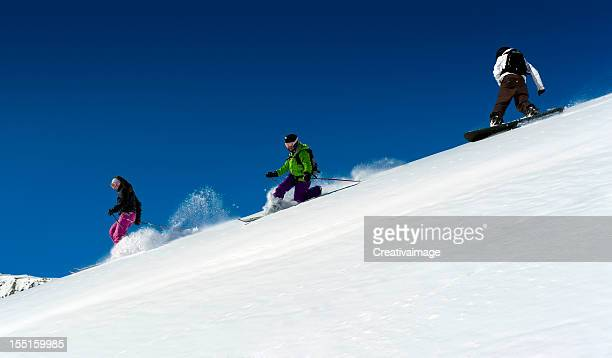 my friends in action - telemark stock pictures, royalty-free photos & images