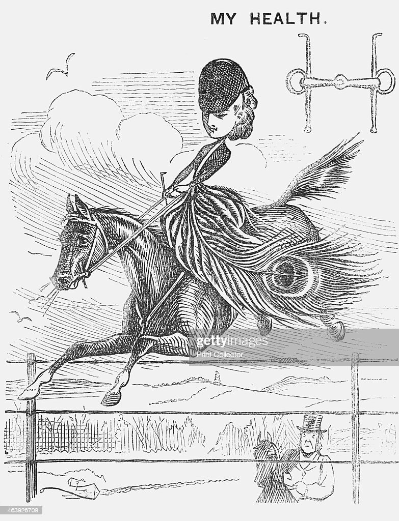 'My Health', 1872. A young lady with a model figure, light as a feather. She and her horse sail over a high fence. From Punch, or the London Charivari, January 13, 1872.