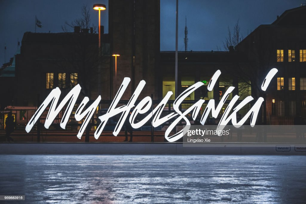 'My Helsinki' Sign on Helsinki Icepark at Railway Station Square, Helsinki, Finland : Stock-Foto