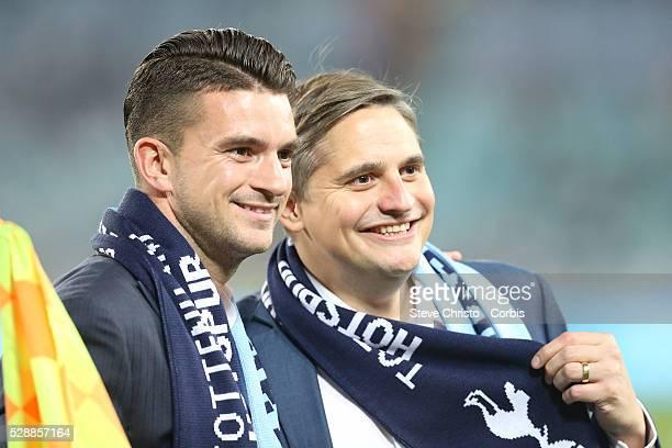 My Kitchen Rules winners Will Stewart and Steve Flood before the match between Tottenham and Sydney FC at Stadium Australia Sydney Australia Saturday...