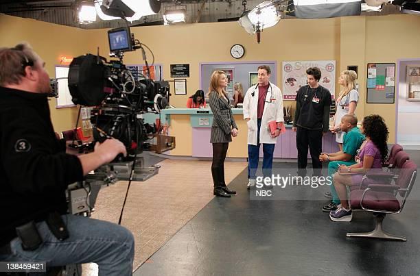 SCRUBS My Life in Four Cameras Episode 17 Aired 2/15/2005 Pictured Cameraman actress Christa Miller as Jordan Sullivan actor John C McGinley as Dr...