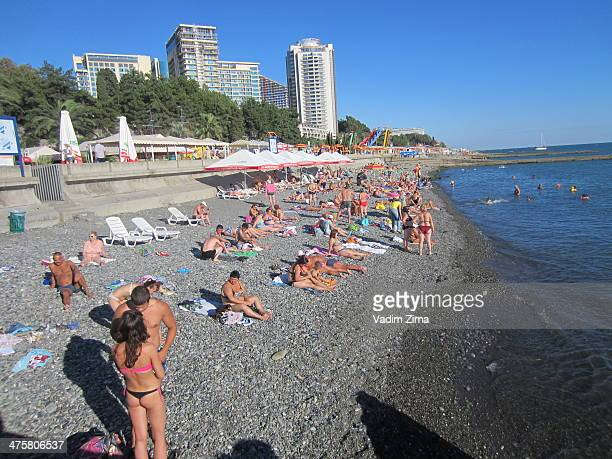 My local friends from Sochi advised me NOT to swim within city limits because the water is contaminated by waste. Apparently, there's a lot of folks...