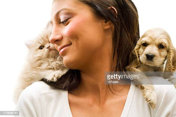 my loves, - dog and cat stock photos and pictures