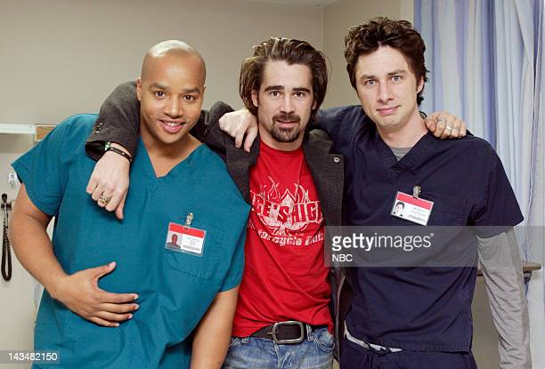 SCRUBS My Lucky Charm Episode 14 Aired 01/25/05 Pictured Donald Faison as Dr Christopher Turk Colin Farrell as Billy Callahan Zach Braff as Dr John...