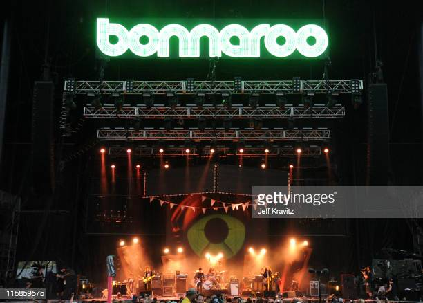 My Morning Jacket performs on stage during Bonnaroo 2011 at What Stage on June 10, 2011 in Manchester, Tennessee.