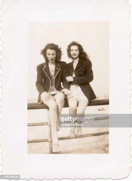 My mother and my aunt at Orchard Beach in the Bronx in May, 1947.