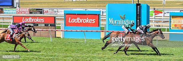 My Passport ridden by Dwayne Dunn wins the Travel Managers BM64 Handicap at Mornington Racecourse on December 28 2016 in Mornington Australia