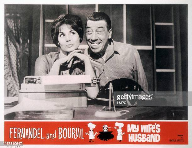 My Wife's Husband US lobbycard from left Claire Maurier Fernandel 1963