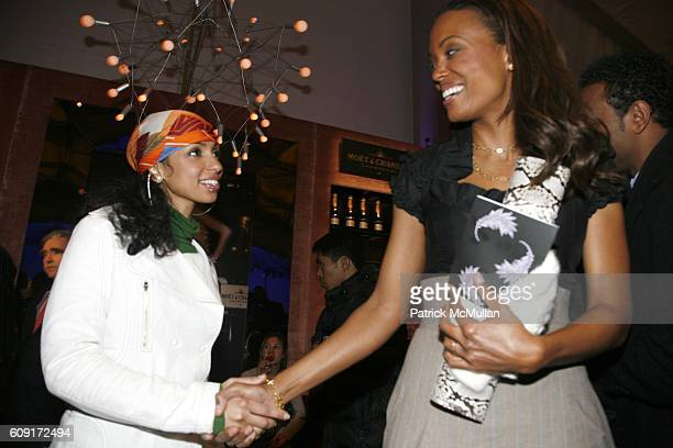 Mya and Aisha Tyler attend THE TENTS at Bryant Park on February 8 2007 in New York City