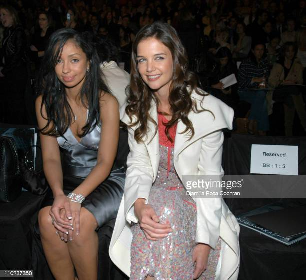 Mya and Katie Holmes at BCBG Max Azria during Olympus Fashion Week Fall 2005 BCBG Max Azria Front Row at Bryant Park in New York City New York United...
