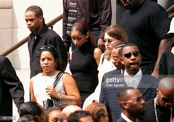 Mya at RB singer Aaliyah's funeral at St Ignatius Loyola Roman Catholic Church in New York City 8/31/2001 Photo Evan Agostini/Getty Images