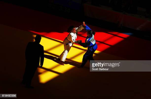 Mya Beneby of the Bahamas competes against Hafsa Yameena Rifaz of Sri Lanka in the girls 57kg judo on day 1 of the 2017 Youth Commonwealth Games at...