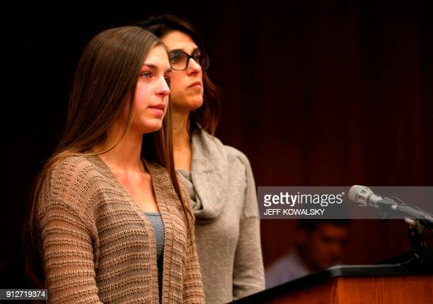 Mya Covey a victim of former Michigan State University and USA Gymnastics doctor Larry Nassar speaks during the sentencing phase in in Eaton County...