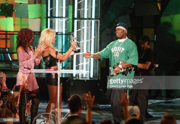 Mya Pamela Anderson and 50 Cent winner of Best New Artist In A Video and Best Rap Video at the 2003 MTV Video Music Awards
