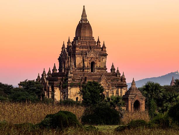 Myanmar, Bagan, ancient temple at sunrise