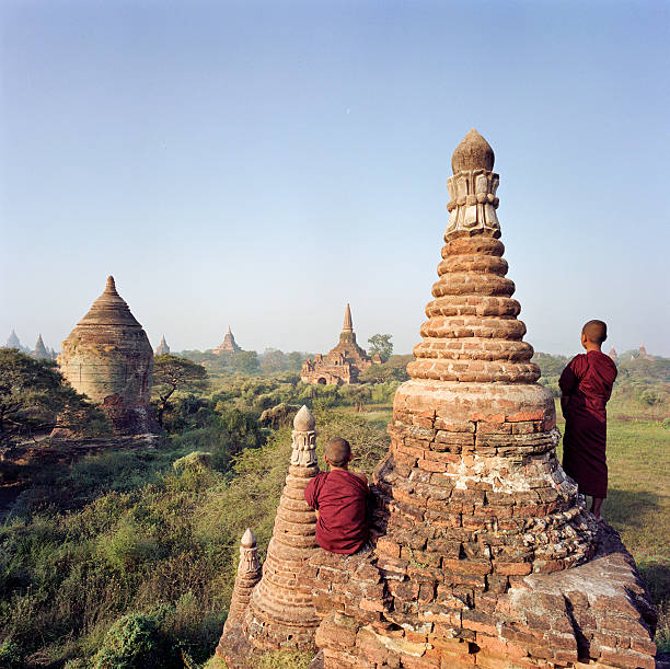 Myanmar, Bagan, Buddhist monks on temple