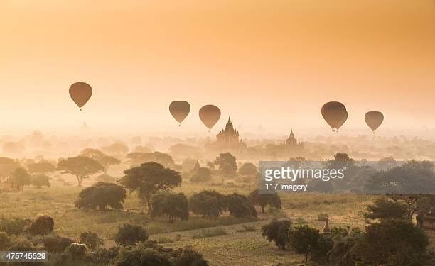 Myanmar (Burma) - Balloons flying over Bagan
