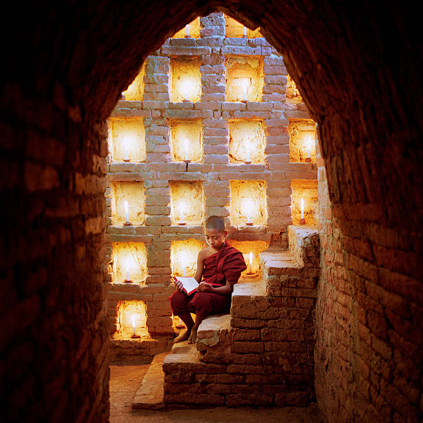 Myanmar, Buddhist monk inside temple