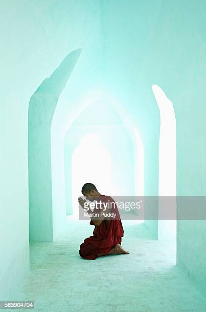 Myanmar, Buddhist Monk Praying