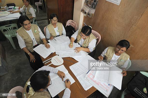Myanmar census enumerators work on the collected data at a monitoring office in Yangon on April 10 2014 Myanmar census takers made their final rounds...