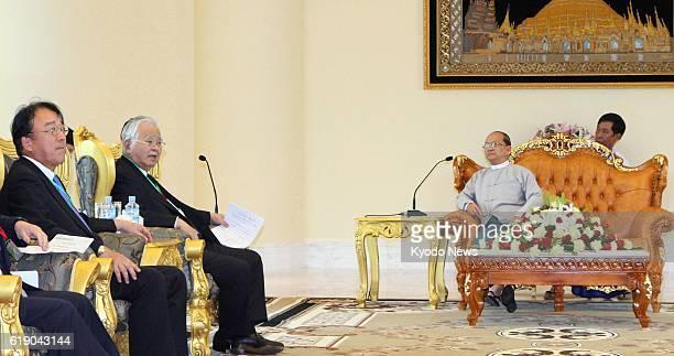 Myanmar - Hiromasa Yonekura , chairman of the Japan Business Federation, meets with Myanmar President Thein Sein in Naypyitaw, Myanmar, on Feb. 5,...