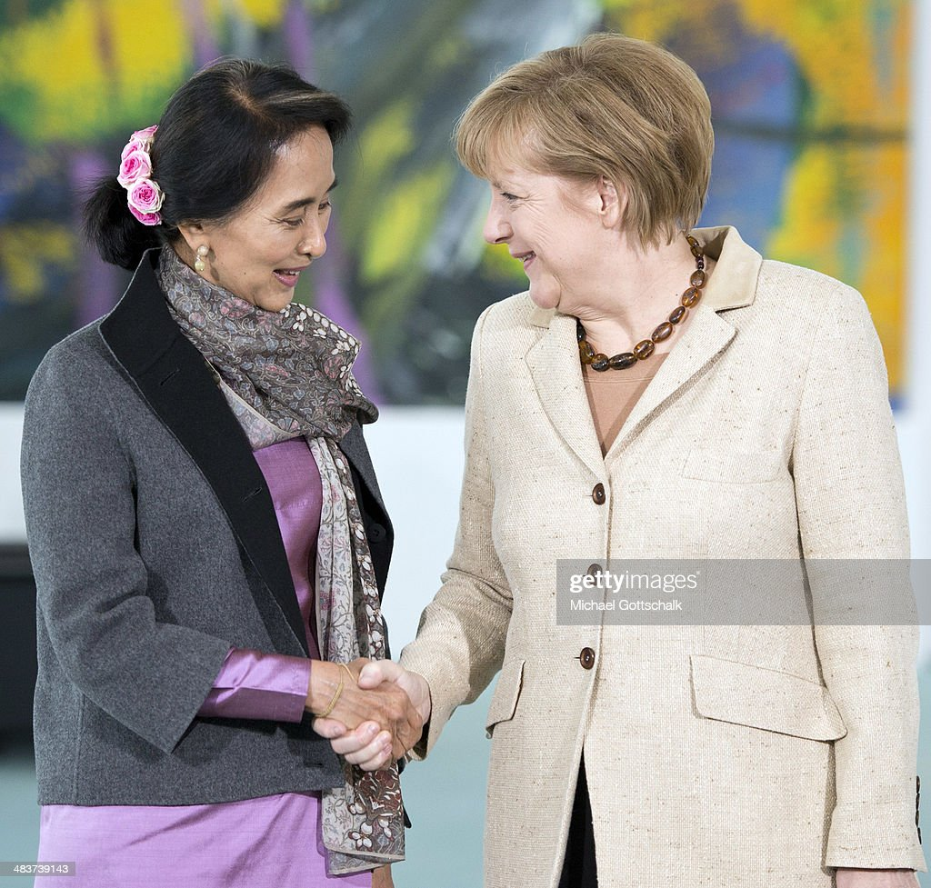 Myanmar human rights activist and politician Aung San Suu Kyi and German Chancellor Angela Merkel meet in the Chancellery on April 10, 2014 in Berlin, Germany. Aung San Suu Kyi is on a two-day visit to Germany before she continues to France.
