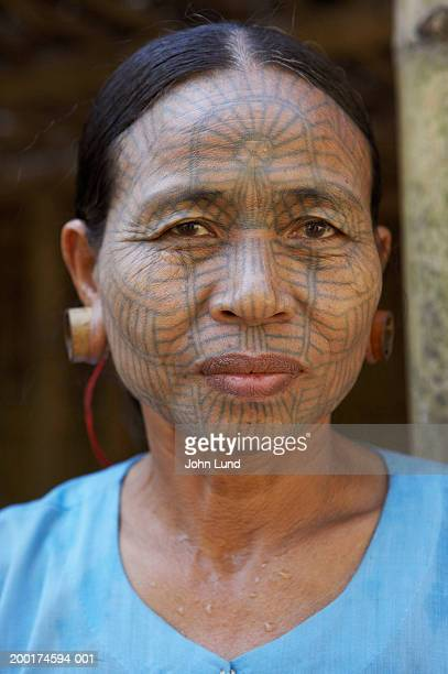 Myanmar, Kyee Chaung Village, Chin Tribal woman with facial tattoos