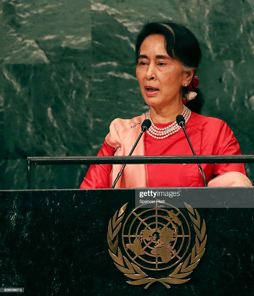 Myanmar leader Aung San Suu Kyi addresses the General Assembly at the United Nations on September 21, 2016 in New York City. Presidents, prime ministers, monarchs and ministers are gathering this week for the United Nation's General Assembly's annual ministerial meeting.
