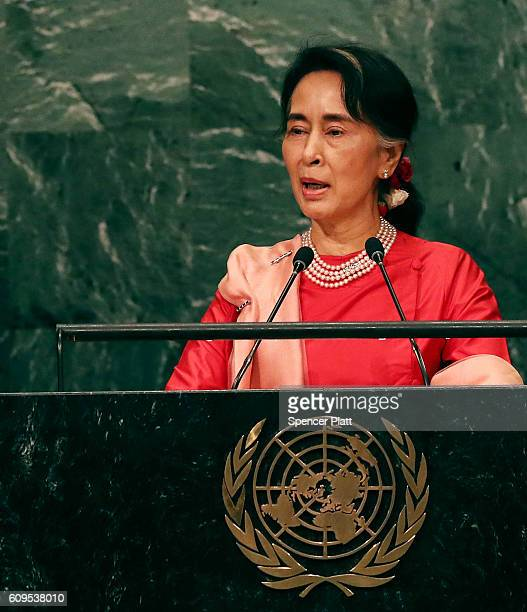 Myanmar leader Aung San Suu Kyi addresses the General Assembly at the United Nations on September 21 2016 in New York City Presidents prime ministers...