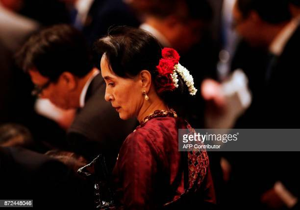 Myanmar leader Aung San Suu Kyi attends the APECASEAN dialogue on the sidelines of the AsiaPacific Economic Cooperation leaders' summit in the...