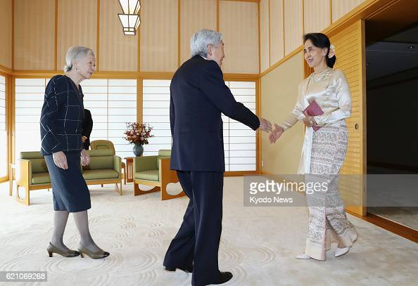 Suu kyi meets with japan opposition leader pictures getty images m4hsunfo