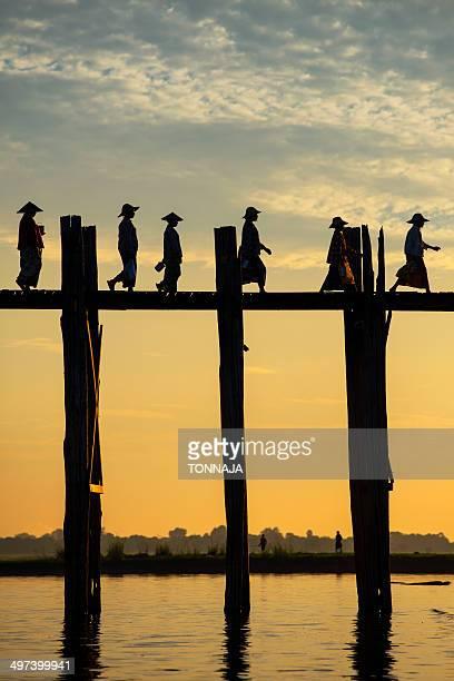 Myanmar life on U Bein bridge
