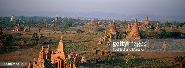 Myanmar, Mandalay Province, Bagan, temples and pagodas, aerial view